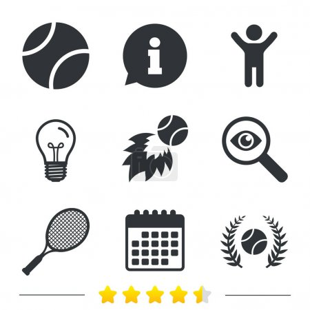 Tennis ball and racket icons. Laurel wreath.