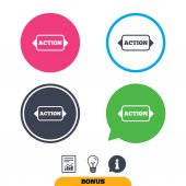 Action sign icon vector illustration