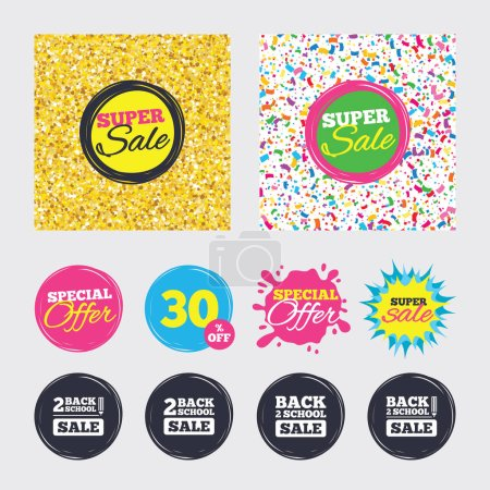 Gold glitter and confetti backgrounds. Covers, pos...