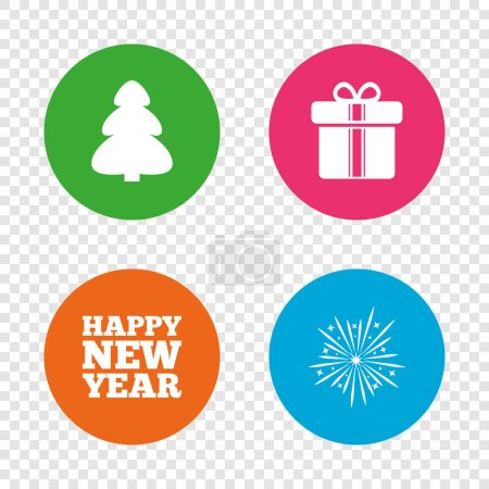 Happy new year sign. Christmas tree and gift box.