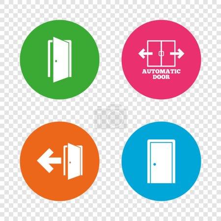 Doors signs. Emergency exit with arrow symbol.