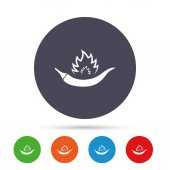 Hot chili pepper sign icon Spicy food fire symbol Round colourful buttons with flat icons Vector