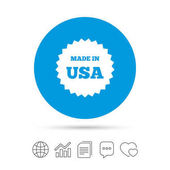 Made in the USA icon Export production symbol Product created in America sign Copy files chat speech bubble and chart web icons Vector