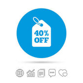 40 percent sale price tag sign icon