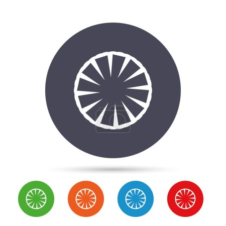 Round colourful buttons with flat icons