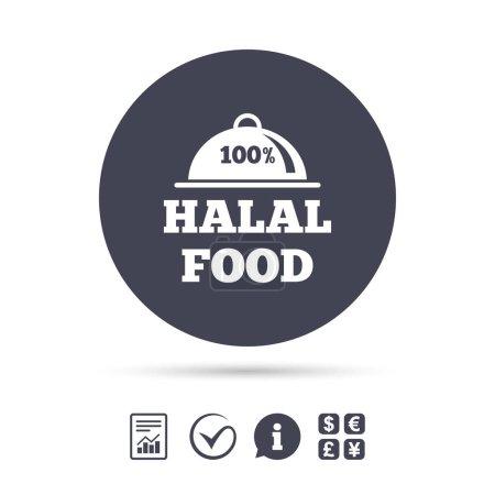 Illustration pour Icône de signe de produit alimentaire 100 % halal. Symbole alimentaire musulman naturel. Vecteur - image libre de droit