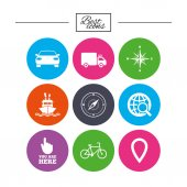 Navigation and gps icons with Windrose compass and map pointer signs Classic simple flat icons Vector