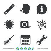 Screwdriver and wrench key tool icons