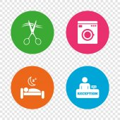 Hotel services icons Washing machine or laundry sign Hairdresser or barbershop symbol Reception registration table Quiet sleep Round buttons on transparent background Vector