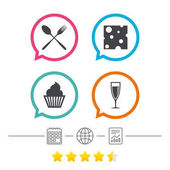 Food icons Muffin cupcake symbol Fork and spoon sign Glass of champagne or wine Slice of cheese Calendar internet globe and report linear icons Star vote ranking Vector