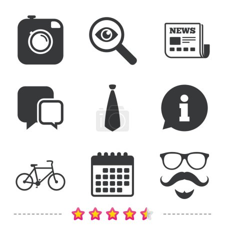 Hipster photo camera icons set