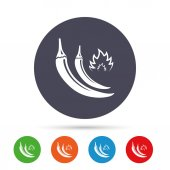 Hot chili peppers sign icon Spicy food fire symbol Round colourful buttons with flat icons Vector