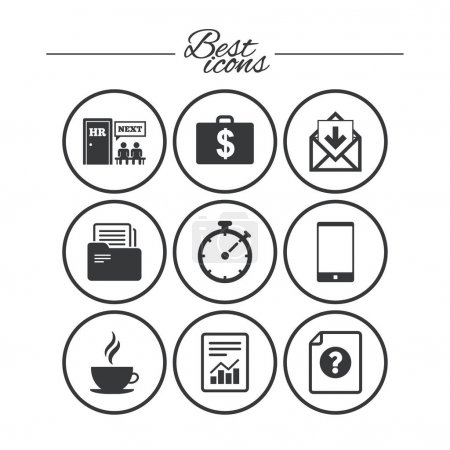 Illustration pour Bureau, documents et icônes d'affaires. Comptabilité, ressources humaines et panneaux téléphoniques. Courrier, salaire et symboles statistiques. Icônes plates simples classiques. Vecteur - image libre de droit