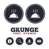 Grunge post stamps Food platter serving sign icon Table setting in restaurant symbol Hot warm meal Information download and printer signs Aged texture web buttons Vector