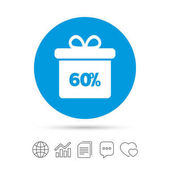 60% sale gift box tag sign icon Discount symbol Special offer label Copy files chat speech bubble and chart web icons Vector