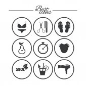 Hairdresser spa icons set