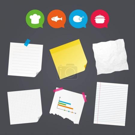 Sticky colorful notes and icons set
