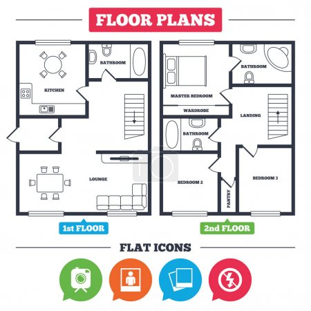 House floor plan and icons set