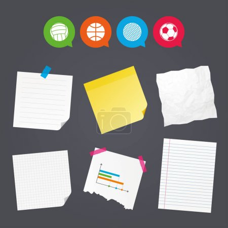 Sticky colorful notes and icons
