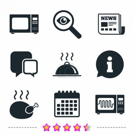 Illustration pour Four micro-ondes grill icônes. Cuisiner des pancartes de poulet. Plat de service symbole. Journaux, informations et icônes de calendrier. Enquêter sur loupe, chat symbole. Vecteur - image libre de droit