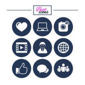 Social media icons Video share and chat signs Human photo camera and like symbols Classic simple flat icons Vector