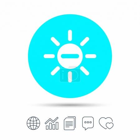 Sun minus sign icon. Heat symbol. Brightness butto...