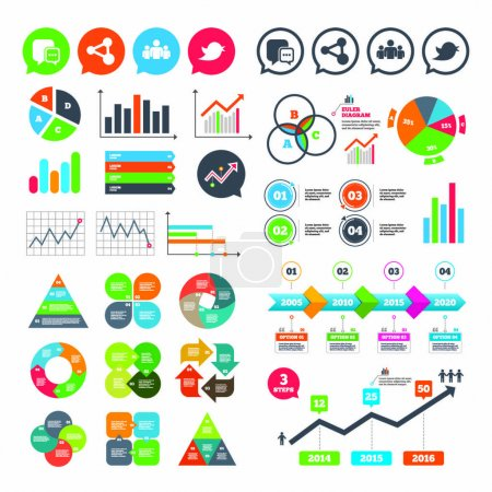 Business charts and icons set