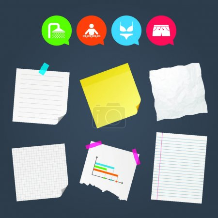 Sticky notes and icons set