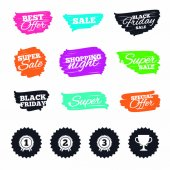Ink brush sale banners and stripes First second and third place icons Award medals sign symbols Prize cup for winner Special offer Ink stroke Vector