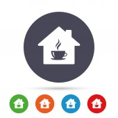 Coffee shop icons set Hot coffee cup sign Hot tea drink with steam Round colourful buttons with flat icons Vector illustration