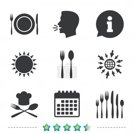 Illustration pour Plaque plat avec fourchettes et couteaux d'icônes. Signe de chapeau chef. Symbole de couverts en croix. Chariot de dessert. Informations, aller à icônes web et calendrier. Soleil et parler haut et fort symbole. Illustration vectorielle - image libre de droit