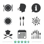 Plate dish with forks and knifes icons Chief hat sign Crosswise cutlery symbol Dessert fork Information go to web and calendar icons Sun and loud speak symbol Vector illustration
