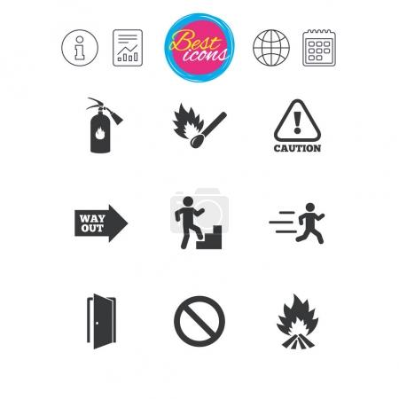 Fire safety, emergency icons.