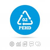 Hd-pe 02 icon High-density polyethylene sign Recycling symbol Copy files chat speech bubble and chart web icons vector illustration