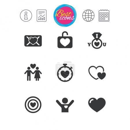 Love, valentine day icons.