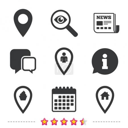 Illustration for Map pointer icons set. Home, food and user location symbols. Restaurant and cupcake signs. You are here. Information, go to web and calendar icons. Vector illustration - Royalty Free Image