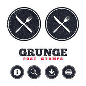 Grunge post stamps Eat sign icons set Cutlery symbol Fork and knife crosswise Information download and printer signs Aged texture web buttons Vector illustration
