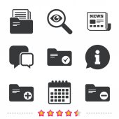 Accounting binders icons Add or remove document folder symbol Bookkeeping management with checkbox Newspaper information and calendar icons Investigate magnifier chat symbol Vector illustration