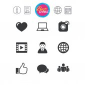 Information report and calendar signs Social media icons Video share and chat signs Human photo camera and like symbols Classic simple flat web icons vector illustration
