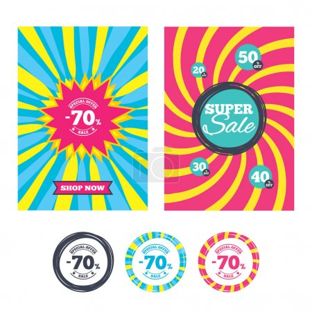 70 percent discount sign icons