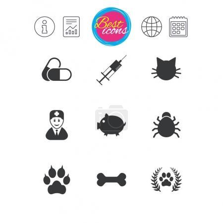 Veterinary, pets icons.