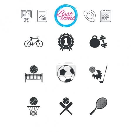 Sport games, fitness icon. Football, basketball.