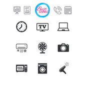 Presentation report and calendar signs Home appliances device icons Electronics signs Air conditioning washing machine and microwave oven symbols Classic simple flat web icons Vector