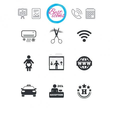 Hotel, apartment service icons.