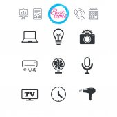 Presentation report and calendar signs Home appliances device icons Air conditioning sign Photo camera computer and ventilator symbols Classic simple flat web icons Vector