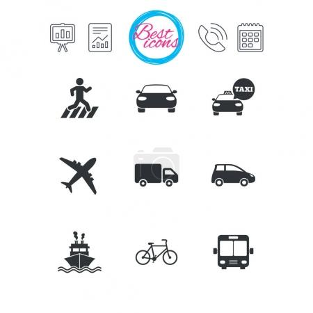 Illustration for Presentation, report and calendar signs. Transport icons. Car, bike, bus and taxi signs. Shipping delivery, pedestrian crossing symbols. Classic simple flat web icons. Vector - Royalty Free Image
