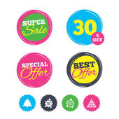 Super sale and best offer stickers Happy new year icon Christmas trees signs World globe symbol Shopping labels Vector
