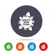 Happy new year globe sign icon Gifts and trees symbol Full rotation 360 Round colourful buttons with flat icons Vector