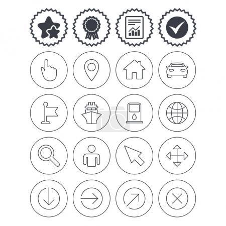 GPS navigation icons.