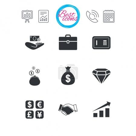 Money, cash and finance icons